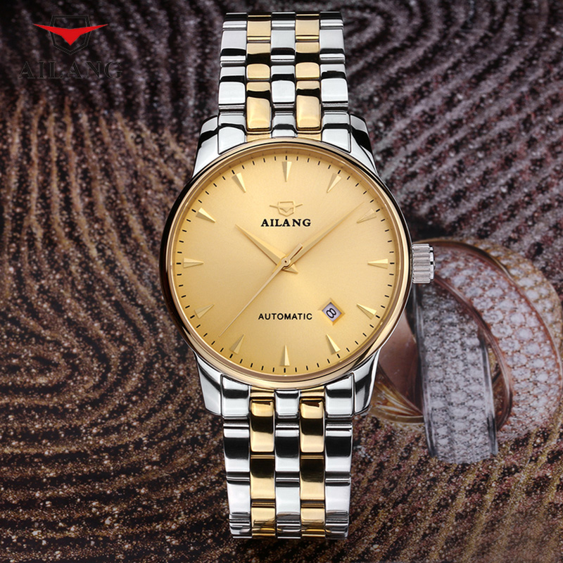 AILANG Elegant Business Watches Simple Top Brand Fashion Wind Male Stainless Steel Watches Calendar Wristwatch Quartz A095 designer simple lovers stainless steel dress watches quartz calendar business wristwatch elegant men women analog relojes nw4462