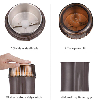 Coffee Grinder Electric Nut & Spice Grinder With Stainless Steel Blade for Seed Bean Pepper Grinder, Cleaning Brush Included 2