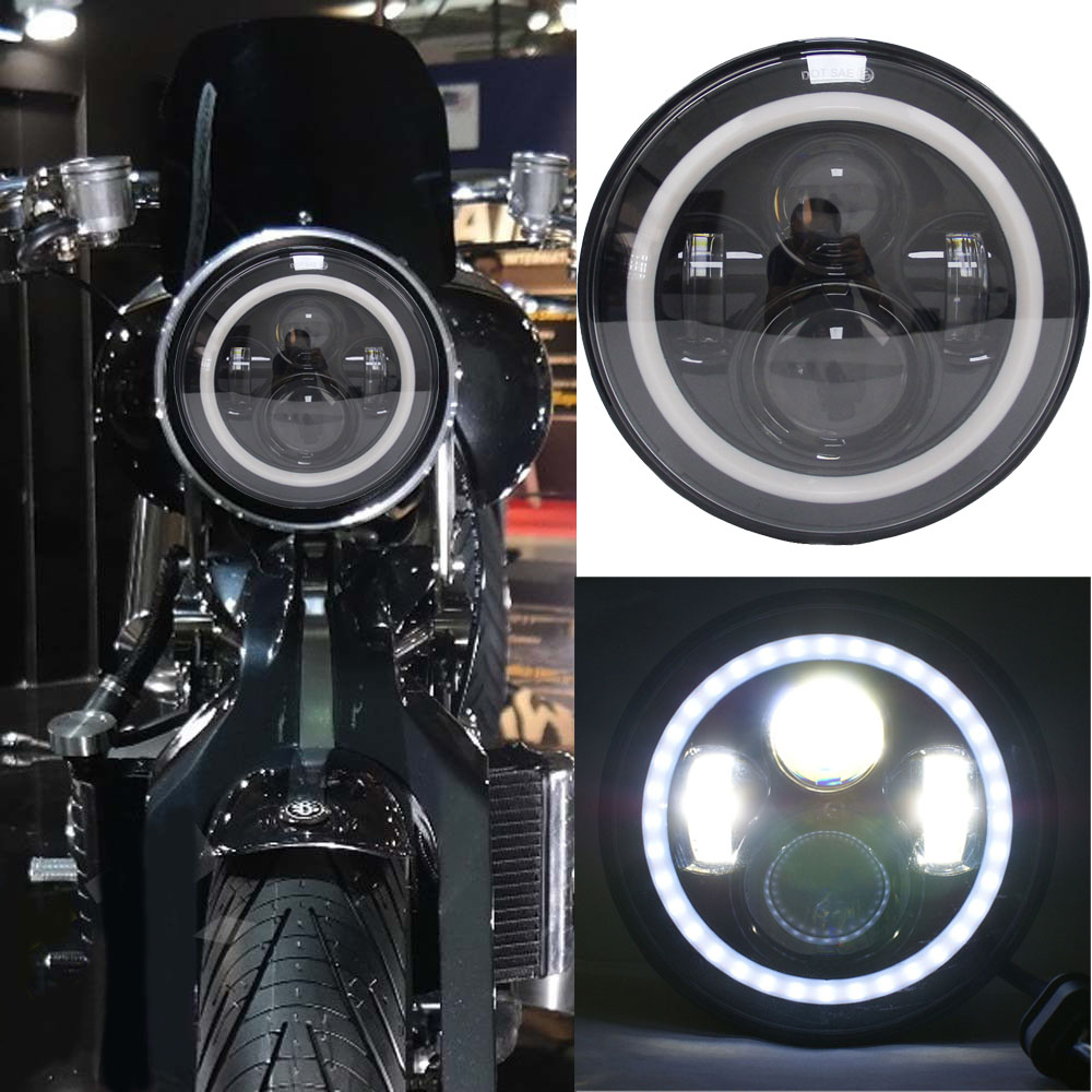 7 Projector Motorcycle LED Headlight halo DRL turn signal light Daymaker For Harley Davidson Road King , Street Glide Softail ...