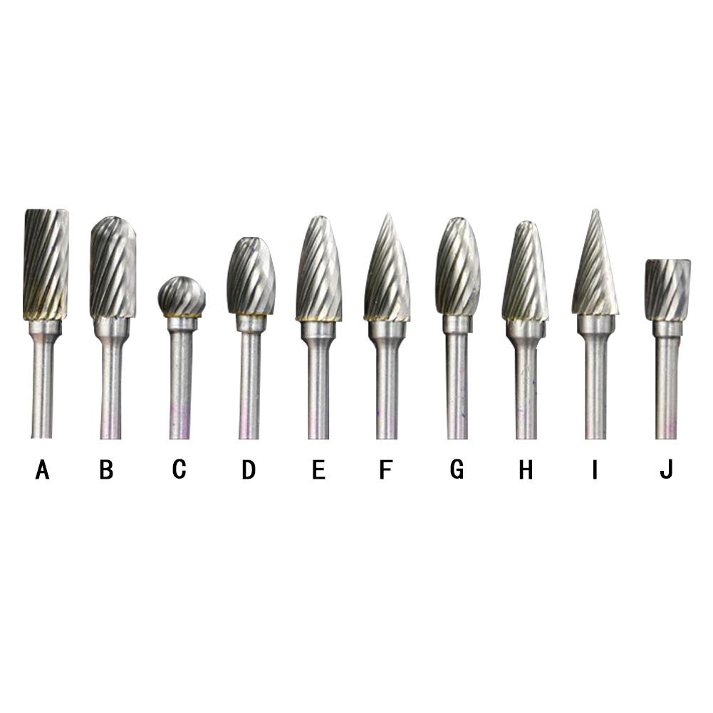 Tungsten Carbide Burrs Sets Mini Drill 10PCS 6*3mm Single Line Rotational File Tungsten Steel Grinding Head Burs Material