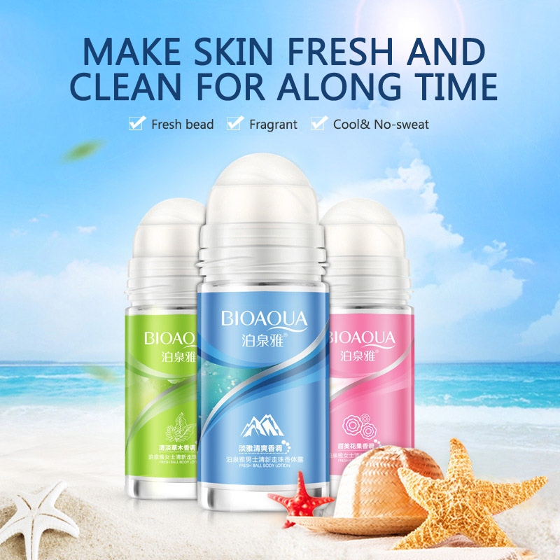 BIOAQUA Ball Body Lotion Antiperspirants Underarm Deodorant Roll on Bottle Women Fragrance Men Smooth Dry Perfumes 3