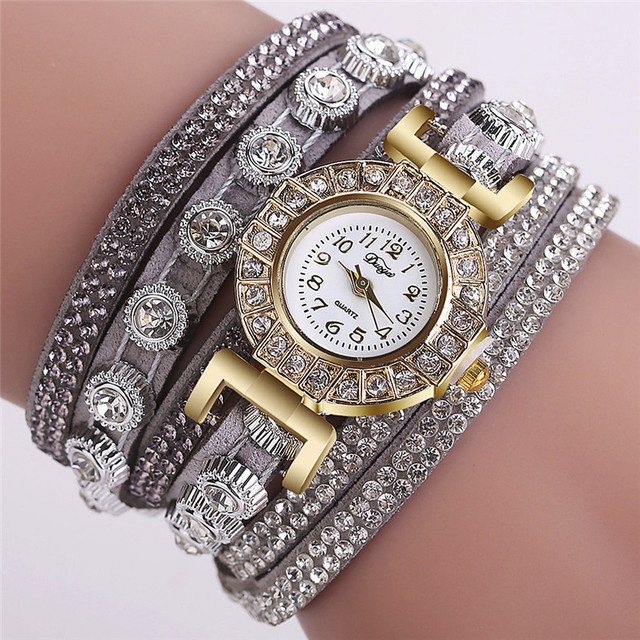 Bracelet Women's Watches Leather Rhinestone Ladies Watch Analog Quartz Wrist Wat