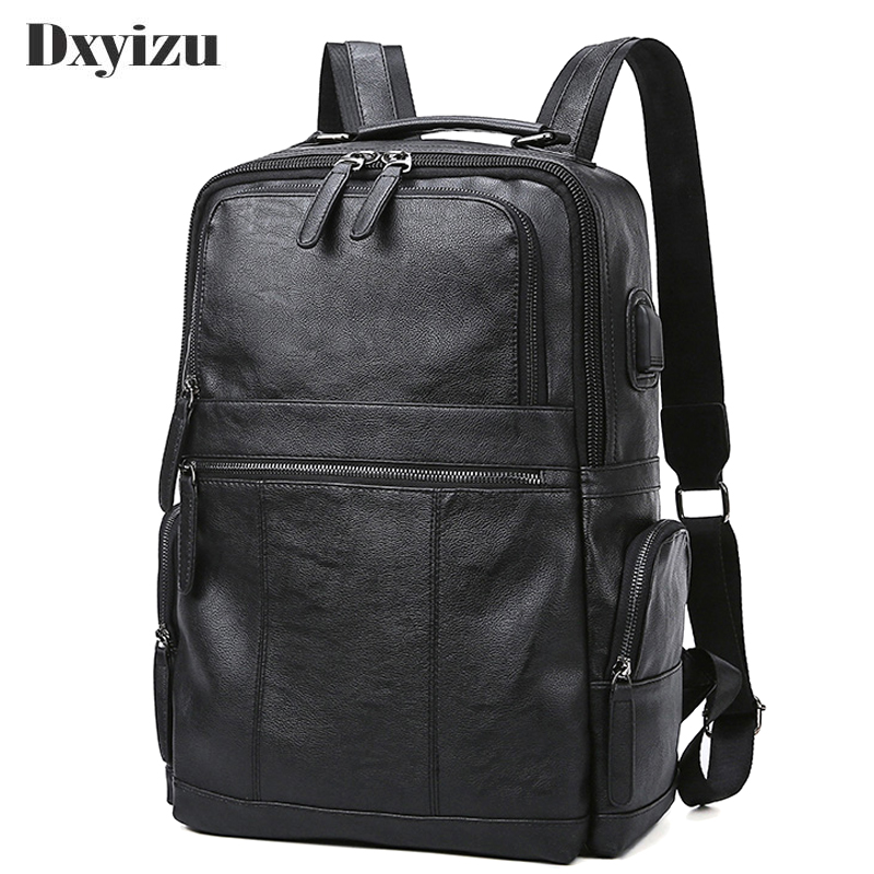 2019 New Large Capacity Travel Black Bags Genuine <font><b>Leather</b></font> Men <font><b>Backpacks</b></font> Male Zipper Designer School <font><b>Backpack</b></font> Men's Travel image