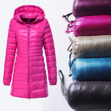 Rihschpiece 2018 Winter 6XL Plus Size Long Jacket Women Ultra Light Hoodie Parka Coat Padded Jackets Casual Clothes RZF1334