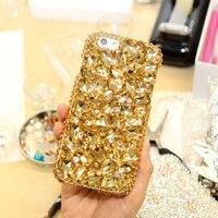 Women Bling Glitter Gold Handmade Diamond Back Cover Case For MeiZu M3 Note Pro 6 MX6