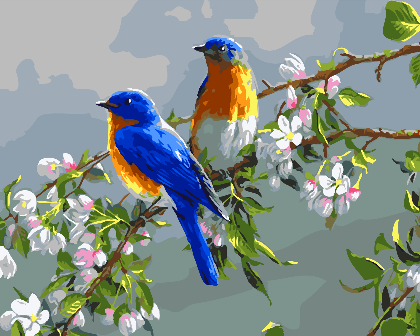 DIY Home decora Stand in two blue birds Painting By ...