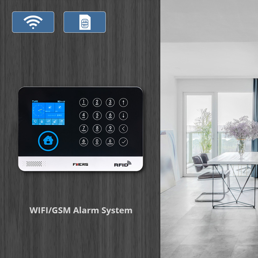 Image 3 - FUERS WIFI GSM  Alarm System Wireless Home Burglar Security Alarm 9 LNG Switchable RFID LCD PIR Smoke Sensor APP Control-in Alarm System Kits from Security & Protection