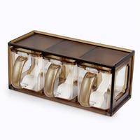 Ящик Стиль прозрачный травяная специя стойки коробка для приправ и специй контейнер перец шейкер соль Набор банок Пособия по кулинарии инс...