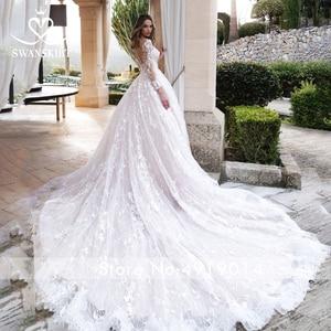 Image 2 - Long sleeves Ball Gown Wedding Dress Swanskirt K185 Sweetheart Appliques Lace Chapel Train Princess Bride Gown Vestido de Noiva