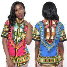 2017 African Dress Dashiki Dresses For Women New Arrival Time-limited Polyester Totem Printing Single Breasted Blouse Clothes