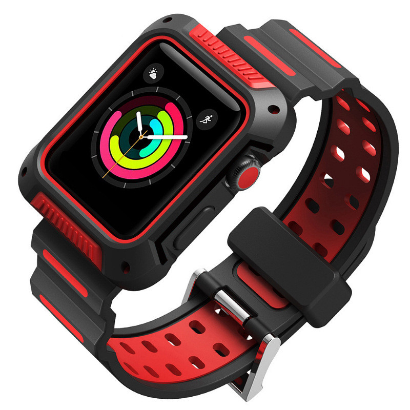 Bracelet For iWatch Band 44 mm Silicone TPU Shock Absorption Strap For Apple Watch Bands 42mm Men Series 4 3 2 1Bracelet For iWatch Band 44 mm Silicone TPU Shock Absorption Strap For Apple Watch Bands 42mm Men Series 4 3 2 1