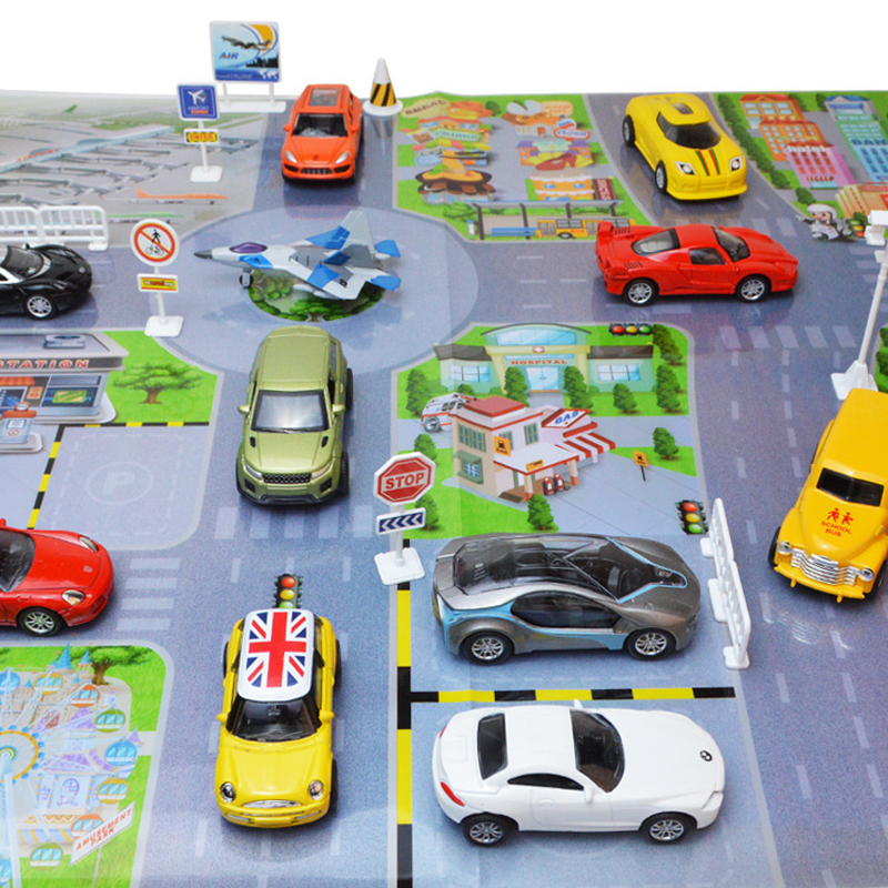 puzzle road sign drawing parking lot city simulated dlloy car sene diagram  hobbies action figures toys for children christmas-in action & toy figures  from