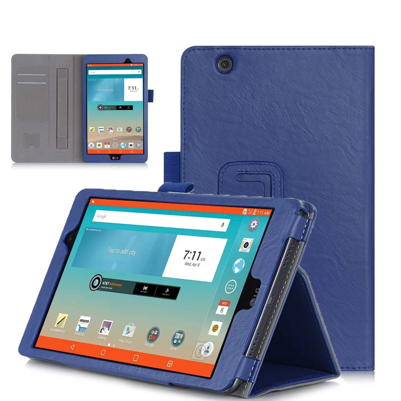 PU Leather Case Stand Cover for LG G Pad 3 8.0 inch V525/LG GPad X 8.0 V521WG Tablet with Velcro Hand Strap and Card Slots