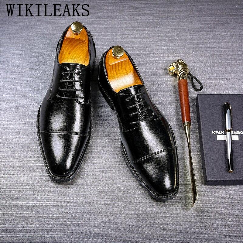 En Cuir D'affaires Richelieus Mariage Zapatos Chaussures Hombre Formelle Parti bleu Vestir Classique Hommes Marque De Noir Homme Robe Rouge vin Luxe chocolat BYqXYw