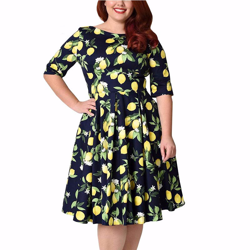 Womens Large Size Print Floral Lemon Midi Dresses Half Sleeve Zipper Slim Bodycon Pleated Female A-Line Swing Dress 2019 Summer