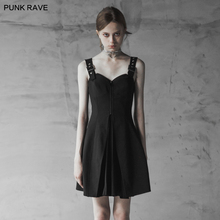 PUNK RAVE Women Backless Party Club Sexy Dresses Punk Chiffon Pleated Sleeveless Sumemr Strap