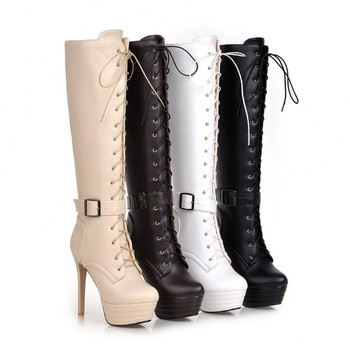 2017 Botas Mujer Big Size 34-43brand Design Patch Color Over The Knee Boots Thick Sole Platform Slim Long Winter Autumn Q2