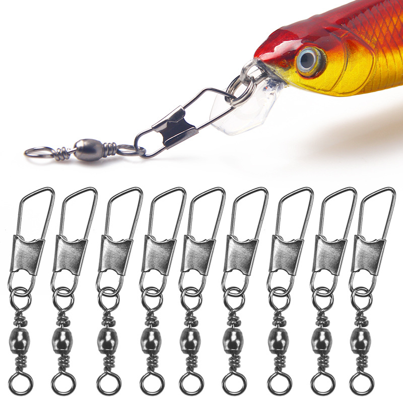 20pcs/lot Fishing Connector Rolling Swivel Stainless Steel Fishing Accessories Connector Nice Snap Fishing Lure Tackles