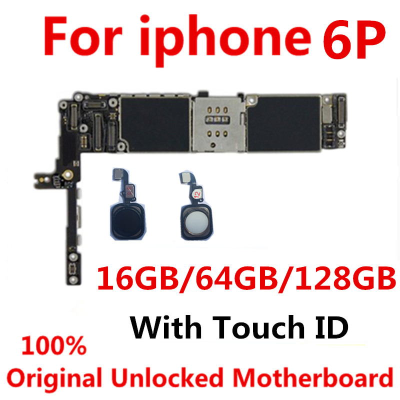 16GB 64GB 128GB Original Motherboard For iPhone 6P Unlocked Mainboard Free iCloud IOS Logic Board With / Without Fingerprint