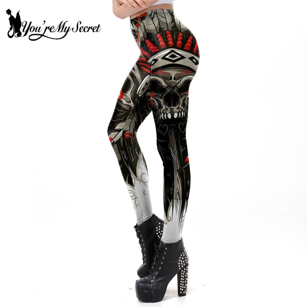 [You're My Secret] New Arrival Skull Chief   Leggings   Women Crown Feather 3D Printed   Legging   High Waist Slim Pants Wholesalers