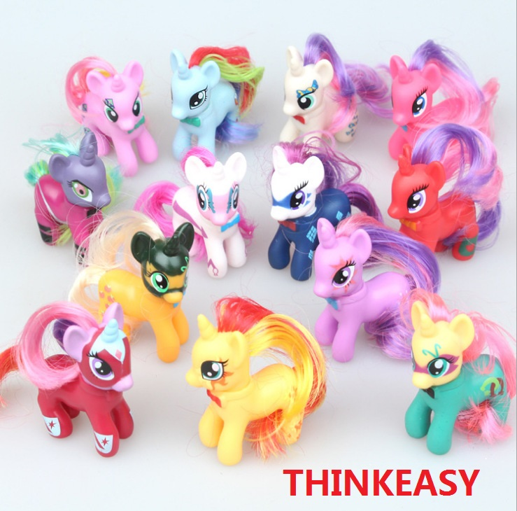 ThinkEasy 13 Pieces / Set 8cm Rainbow My Cute Little Pet Horse Very Beautiful Figure PVC Unicorn Poni Girl Toys Birthday Gift 14cm collection model toy gift anime model funko pop my cute lovely rainbow horse pvc unicorn poni toys for children