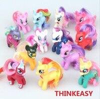 ThinkEasy 13 Teile/los 8 cm Regenbogen My Cute Little Pet pferd Sehr Schöne Figur PVC Einhorn Poni Mädchen Spielzeug Geburtstagsgeschenk