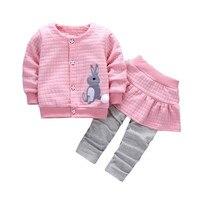 2Pcs Autumn Winter Warm Infant Toddler Baby Girls Rabbit Print Tops Coat Pants Outfits Clothes Set