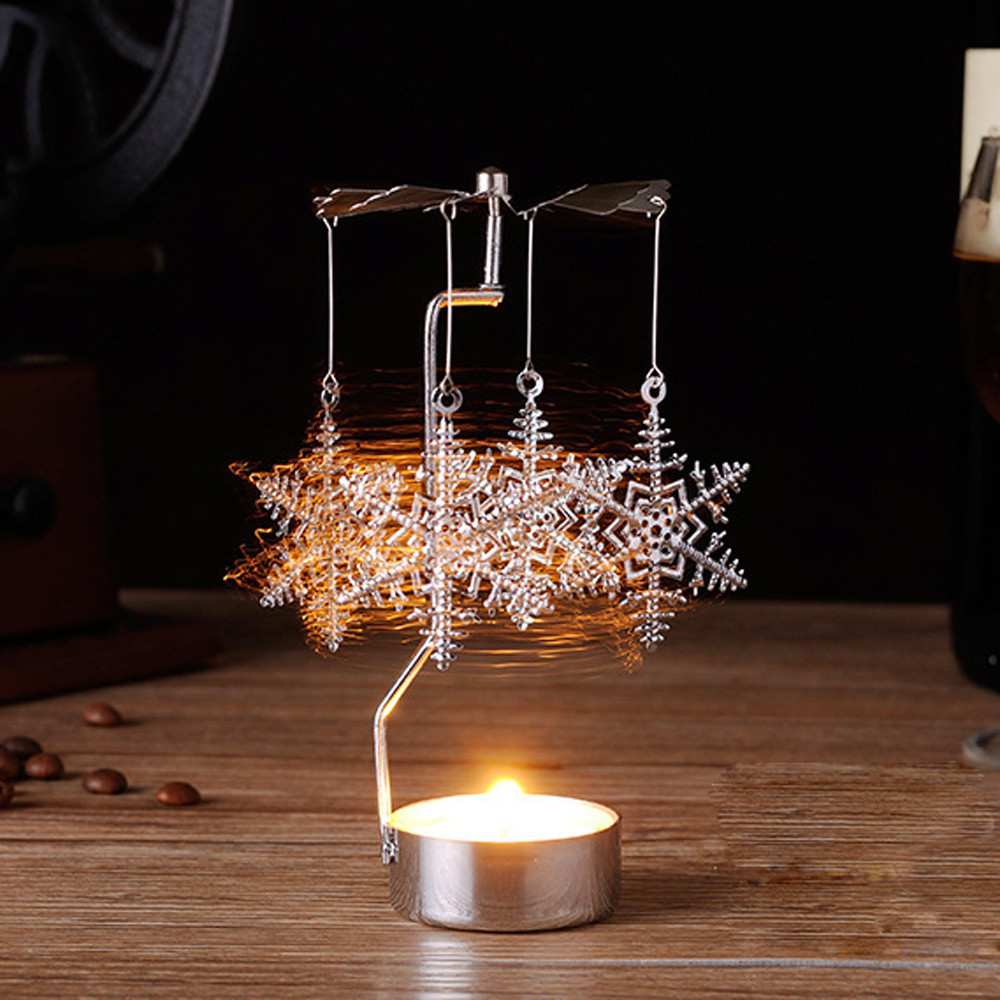 Candle Holders Aspiring Merry Christmas Rotating Spinning Carousel Tea Light Candle Holidays Candlestick Holder Center Decoration Silver Drop Shipping Fine Quality