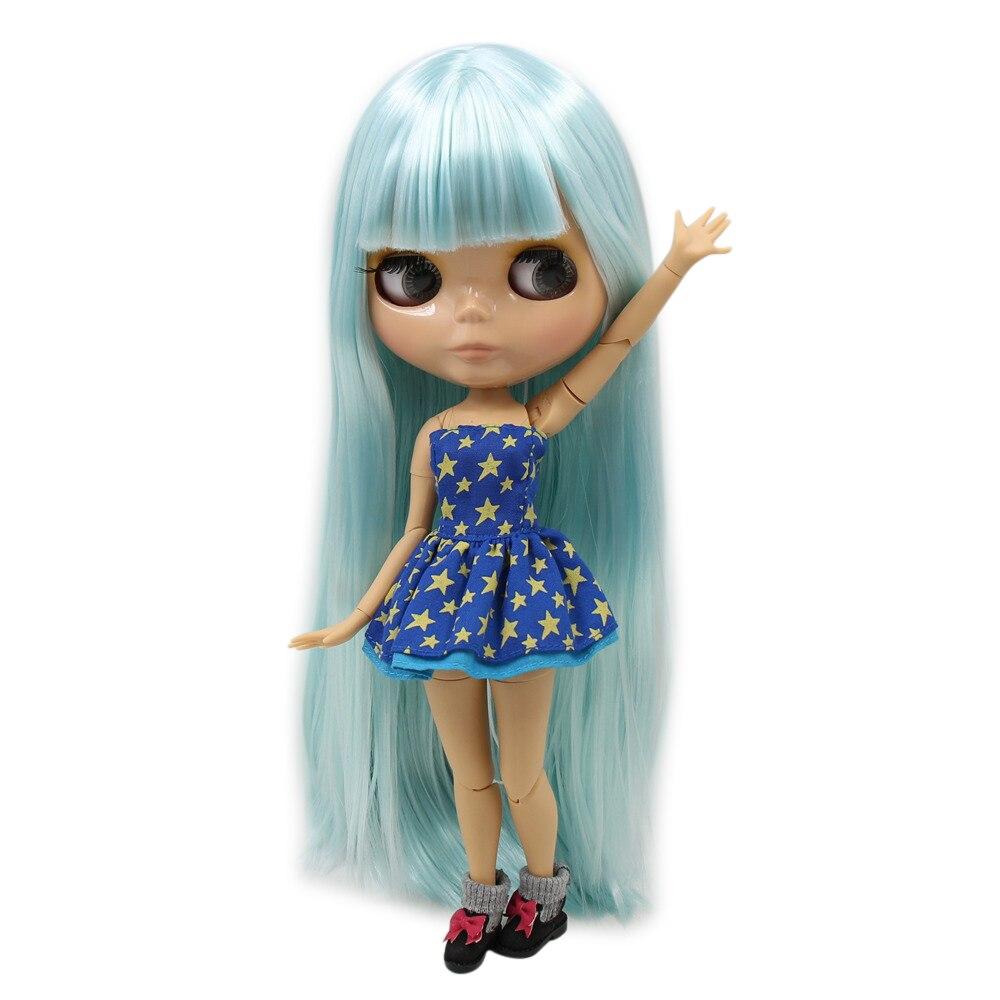 Oyuncaklar ve Hobi Ürünleri'ten Bebekler'de TAN cilt ton Blythe doll çıplak bebek Göl Mavi düz yumuşak saç EKLEM Azon büyük meme vücut 1/6 30cm No.280BL6909 servet gün'da  Grup 1