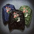 2016 Otoño Mujeres de la Chaqueta de Bombardero Chaquetas Mujer Flor Bordado Parejas Chaqueta Mujeres de la Capa Casaco Outwear Delgada de Gran Tamaño