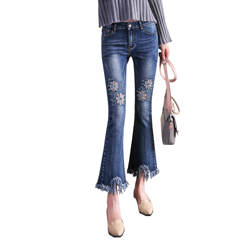 Crochet Hollow Out Jeans Female Spring Casual Flare Denim Pants Jeans Women Fashion High Waist Skinny Jeans E743