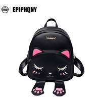 High Quality Cat Ears Backpack Female Funny PU Leather Anime Back To School Bag For Teenagers