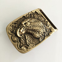 Retail 2016 New Style High Quality Oval Solid Brass Eagle Mens Belt Buckles For 4cm 1
