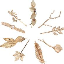 9 Pack Gold Vintage Hollow Branch Leaf Flower Metal Hair Clips Snap Barrette Claw Bobby Pins Alligator Hairclips Wedding Party