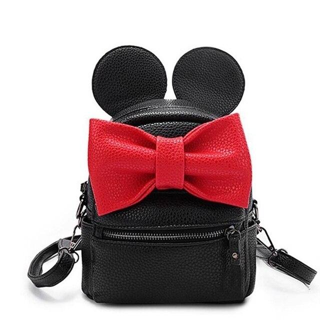 13eb3cc6853f 2018 New Mickey Backpack Girls Pu Leather Mini Bag Women s Backpack Sweet  Bow Female Backpacks School Bag Mochila Feminina