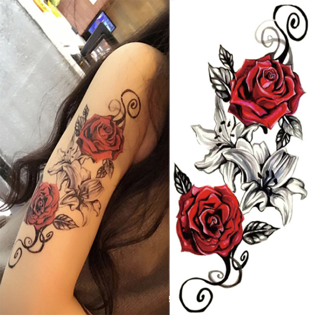 1pcs Watercolor Cool Henna Rose Flowers Temporary Body Tattoo