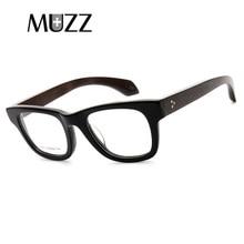 MUZZVintage Optische Gläser Rahmen Halb Rahmen Holz Brillen Oculos De Grau Brillen Rahmen Retro Acetat Optische Gläser Rahmen