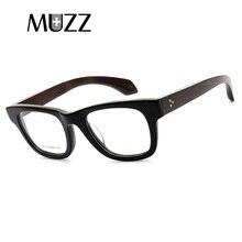 Muzzvintage光学ガラスフレームハーフフレーム木製眼鏡oculosデgrau眼鏡フレームレトロアセテート光学ガラスフレーム