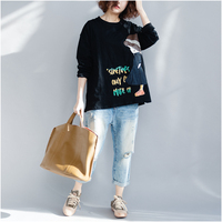 2018 Spring Women Basic Long Sleeve T Shirt Cotton Shirts Female Tees Plus Size Fashion Loose Cartoon Print Tops Pullover 100kg