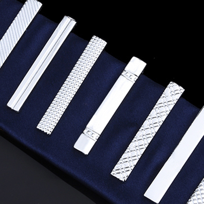 Brief Paragraph Stickpin 4 Cm Men Silver Fashion Contracted Tie Clip 10 Male Short Clip Clip Wholesale