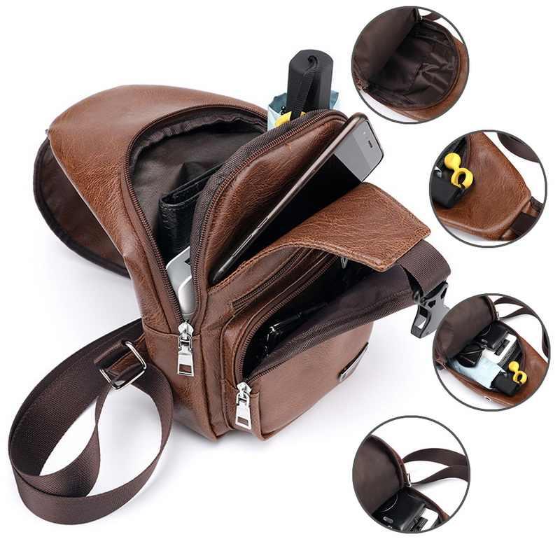 Saco de Peito para homens Pacote de Peito De Couro Dos Homens Backbag Com Fone De Ouvido Buraco Funcional Organizador da Viagem USB Macho de Carregamento USB Sling saco
