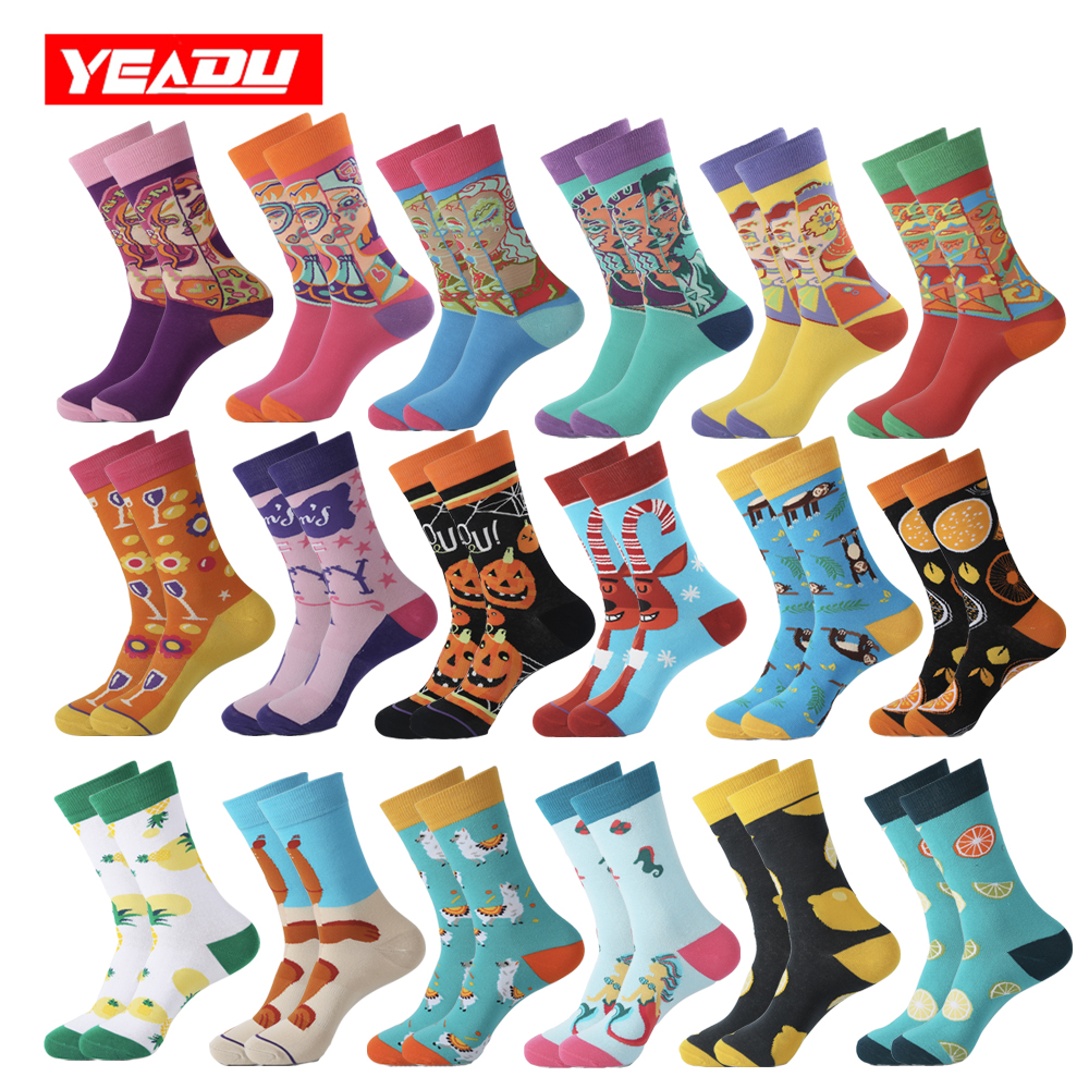 YEADU 2019 New Colorful Women&Men's Socks Harajuku Streetwear Kawaii Funny Cute Happy Korean Style Girl Art Sock Summer Gift
