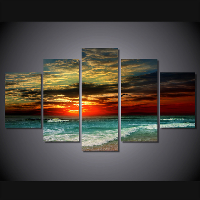 5 pcs set framed hd printed sunset beach wave picture wall art canvas print room