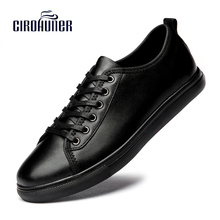 New 2017 Fashion Men Genuine Leather Shoes Dress Shoes for Men's Business Winter Black Shoes Men Casual Loafers Plus Size 38-47