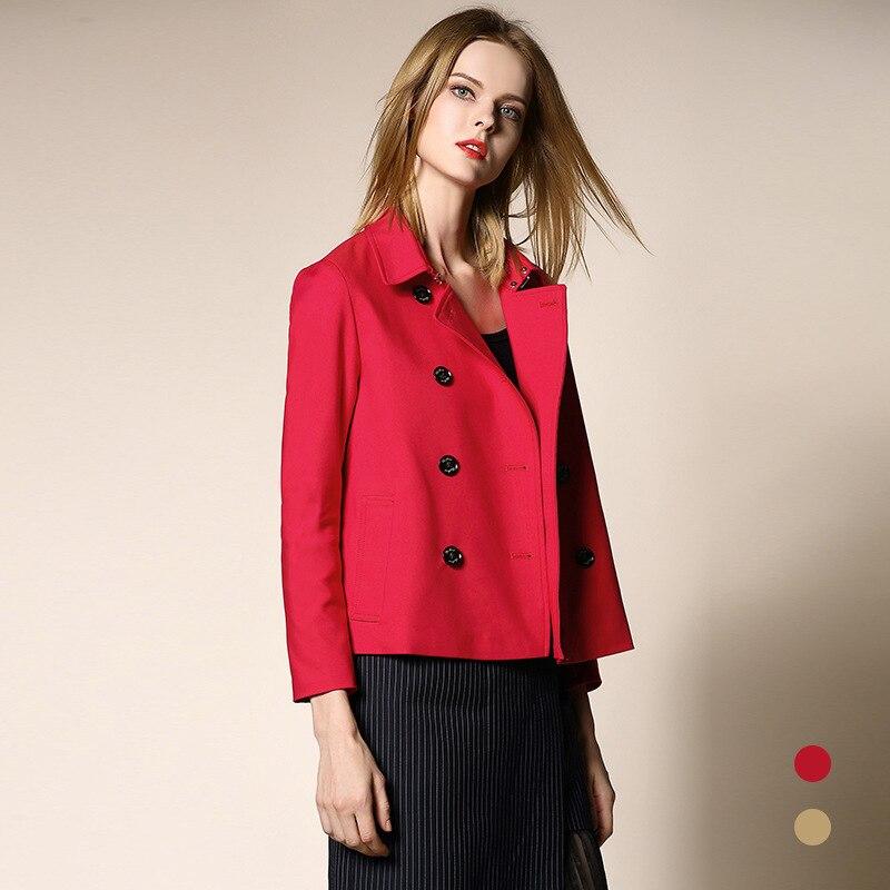 Grande Double Poussière Mode Coupe Femelle vent Piste Printemps Trench Femmes 2019 Manteaux De Rouge Breasted Taille Cascade Kaki Courts coat Dames rouge wfPAZqIzZ