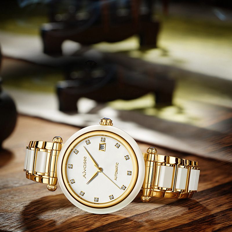 Top Brand Women Fashion Genuine Hetian Jade Watch Automatic Female Mechanical Watch Hollow Female Models Reloj Mujer in Women 39 s Watches from Watches