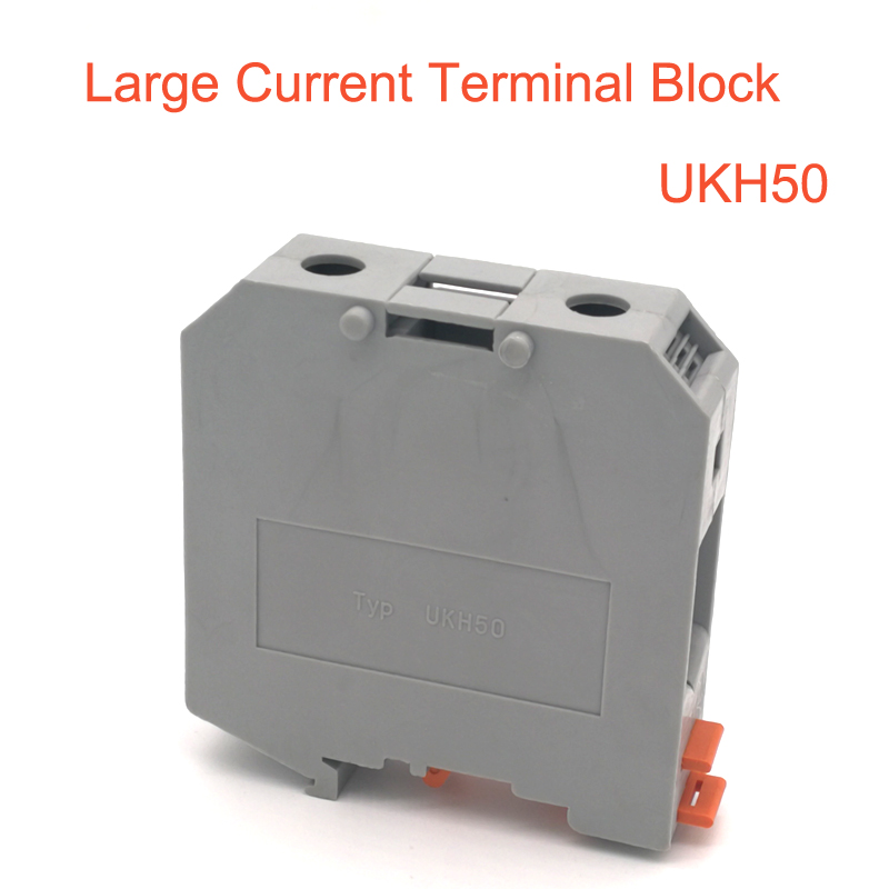 Ev Dekorasyonu'ten Terminal Blokları'de 1 adet UKH 50 Büyük akım Din Ray Terminali Blokları Vida tipi tel elektrik terminalleri blok konektörü UKH50 morsettiera 150A