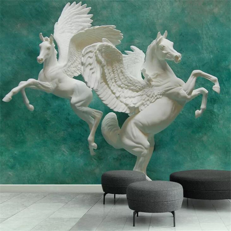 Beibehang Papel De Parede Embossed Three-dimensional Horse Art TV Background Wall Custom Large Mural Green Wallpaper