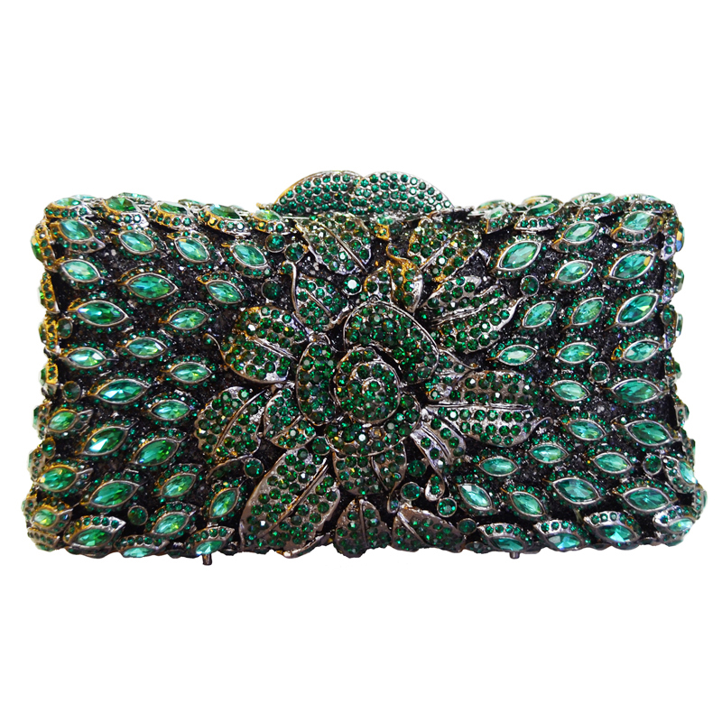 ФОТО LaiSC Handmade Women Handbag Green Diamante Evening Bag Crystal Clutch Purse Rose Flower Hollow Out Mini Party Wedding Bag SC230