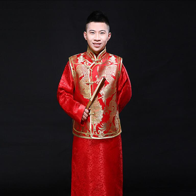 Chinese style wedding dress Jacket and Robe Hanfu clothing men show red dragon gown Wo groom toast suit tops & pants